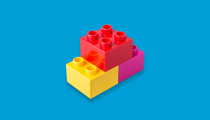 Coloured blocks stacked on each other