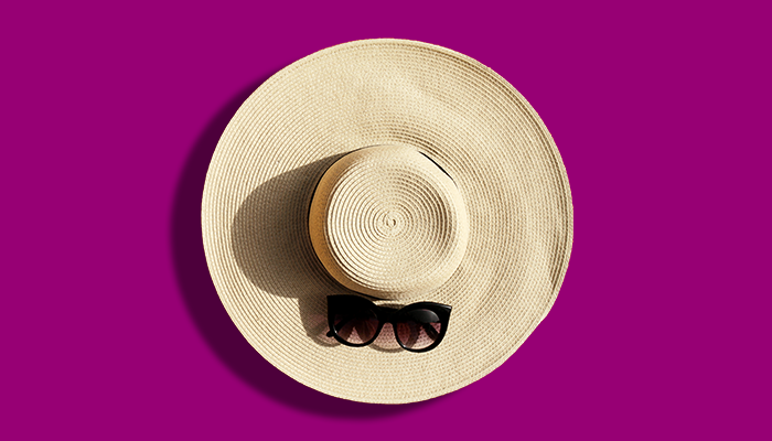 Floppy hat with sunglasses on trend