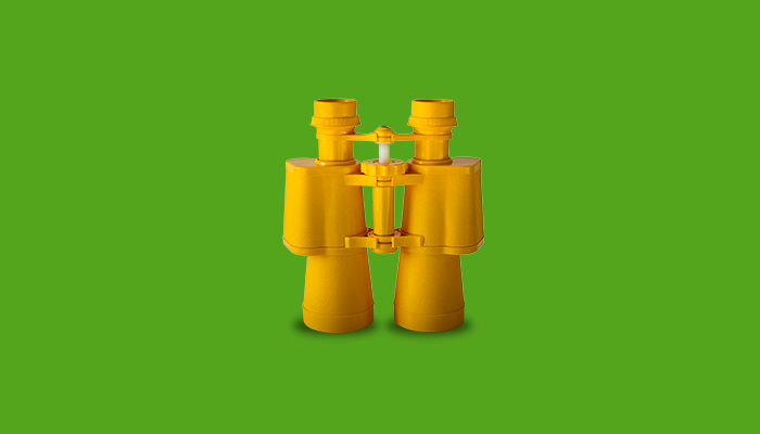 Yellow binoculars for searching