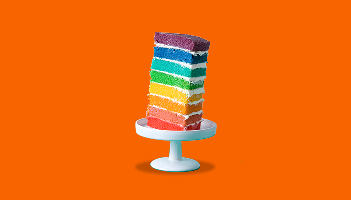 Tall layered rainbow cake