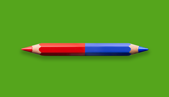Sharpened pencil with one red side and one blue side