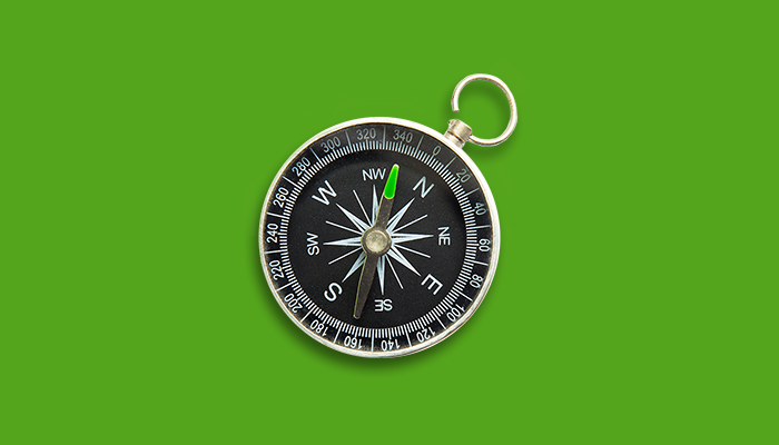 Compass pointing towards goal